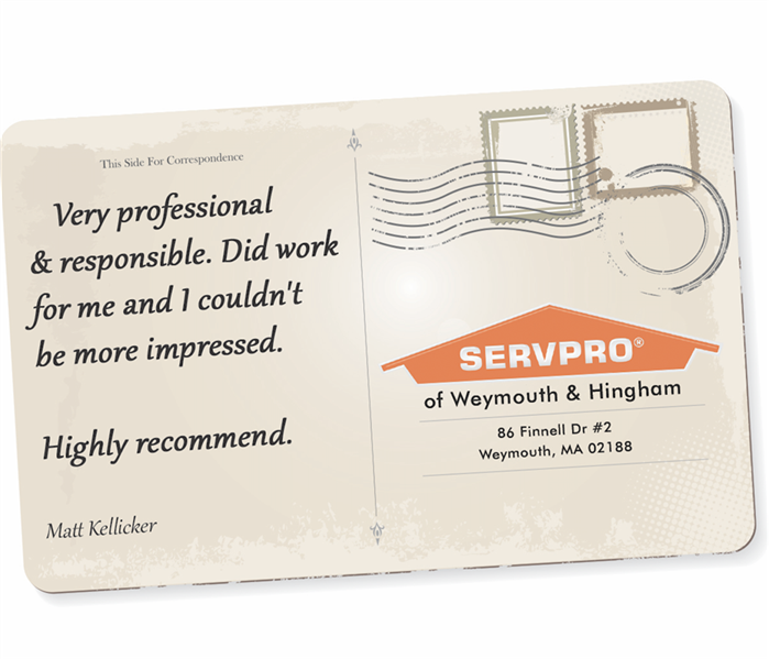 A postcard graphic with a customer review on it